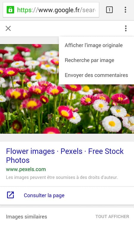 Nouvelle interface de Google Images pour mobile en France (02/2016)