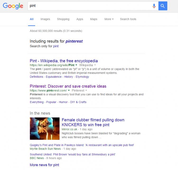 """Pinterest dans le correcteur orthographique de Google avec la requête """"pint"""""""