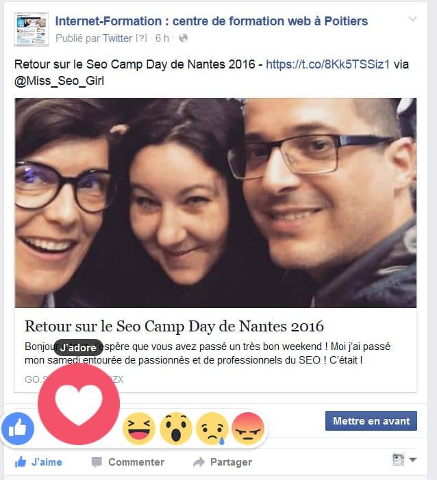 Nouveaux boutons émotionnels (reactions) de Facebook
