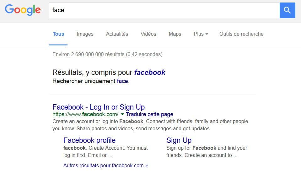 """Résultats corrigés par Google pour Facebook (avec la requête """"face"""")"""