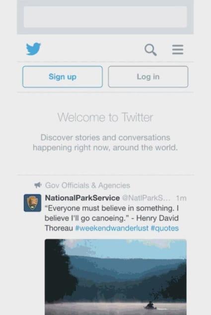 Timeline proposée aux utilisateurs non connectés de Twitter