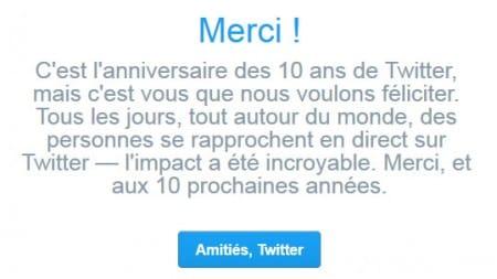 Message d'anniversaire des 10 ans de Twitter