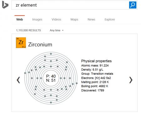 Recherche d'un élément chimique de la table périodique dans les SERP de Bing
