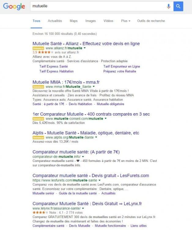 """Acteurs (SEO) sur la requête """"mutuelle"""" en SEO sur Google"""