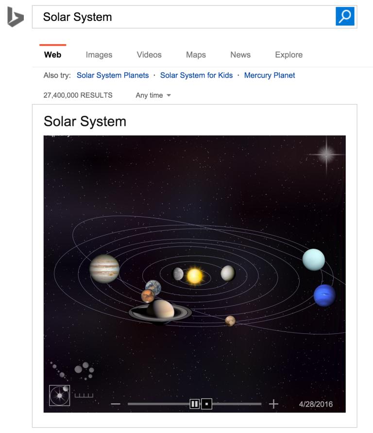 Un système solaire interactif dans les SERP de Bing