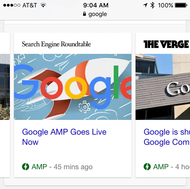 Le carousel de News dans Google Mobile consacré aux pages en AMP HTML