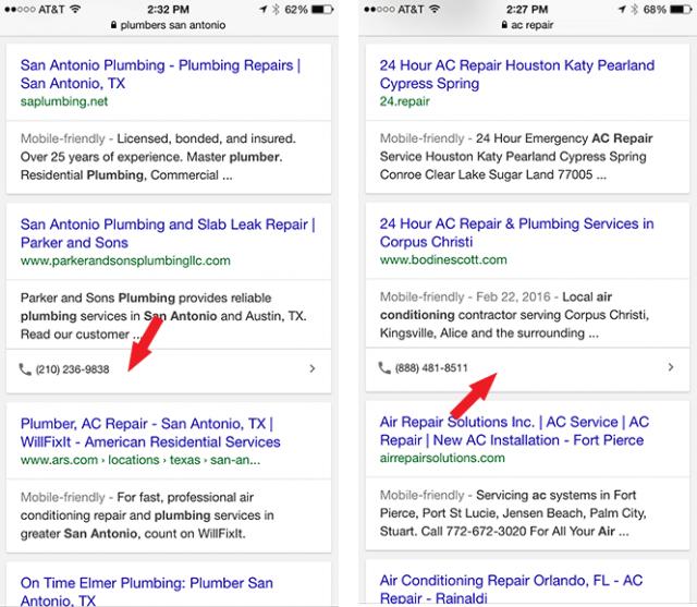 Google ajoute un numéro de téléphone en click-to-call dans les SERP de Google mobile