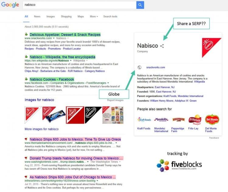 Ajout d'un bouton de partage dans le Knowledge Graph de Google