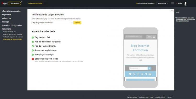 Yandex ajoute un critère d'analyse des tailles de polices pour son algorithme mobile friendly