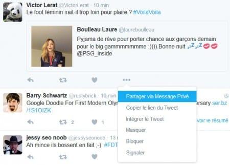 Partager un tweet via un message privé dans Twitter