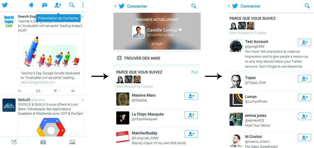 Twitter et son Connect Tab dans l'application mobile Android