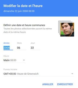 Définir un horodatage commun (heure et date) dans Google Photos