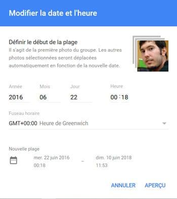 Définir un début de plage horaire dans Google Photos