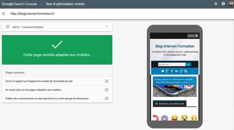 Outil de test d'ergonomie mobile de Google : site responsive