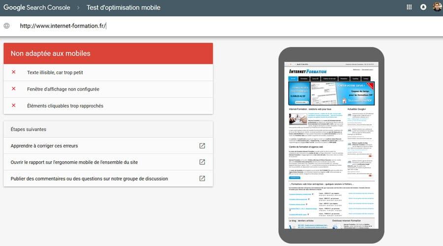Site non compatible mobile testé avec l'outil de test d'ergonomie mobile de Google
