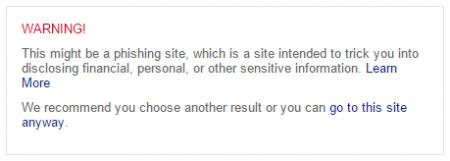 Message d'avertissement de sécurité sur Bing contre les malwares et le phishing