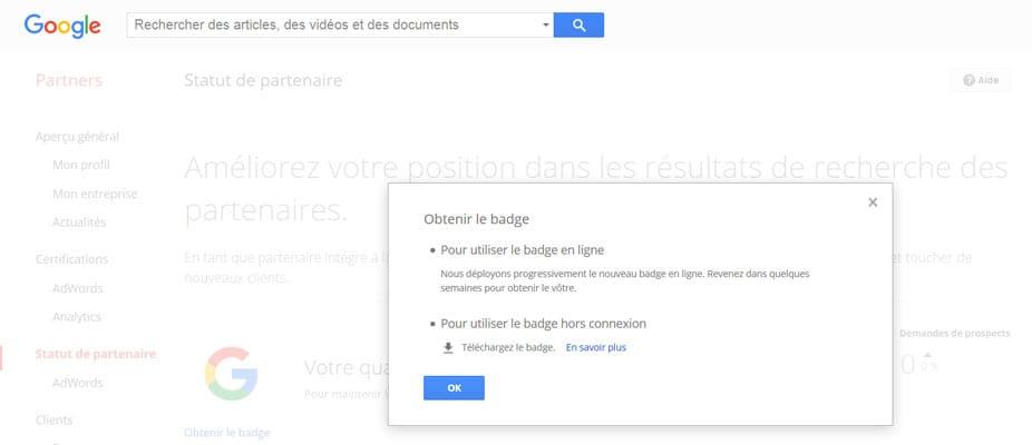 Introduction des badges en ligne pour le programme Google Partners (indique les spécialités)