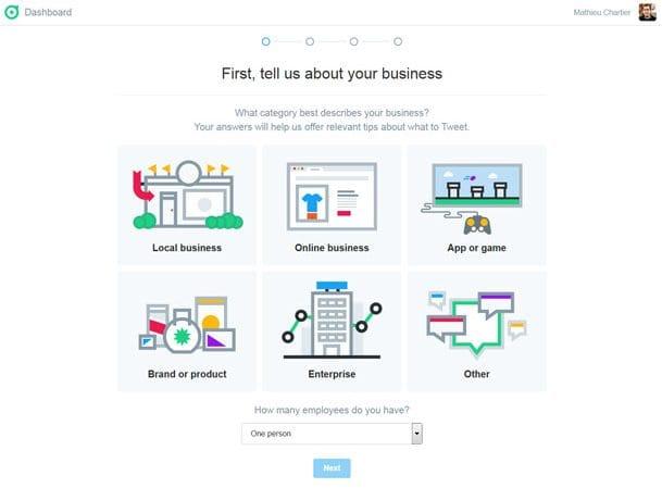 Choix du type d'entreprise (business) ou de thématique du compte Twitter Dashboard