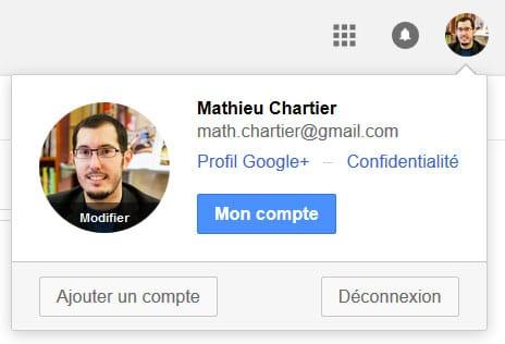 Suppression du nom de l'utilisateur dans la Google bar