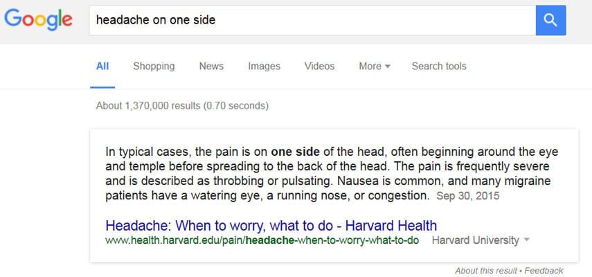 Onebox de santé dans Google