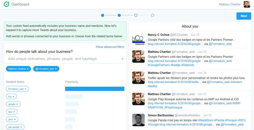Paramétrage des mots clés de suivi dans Twitter Dashboard