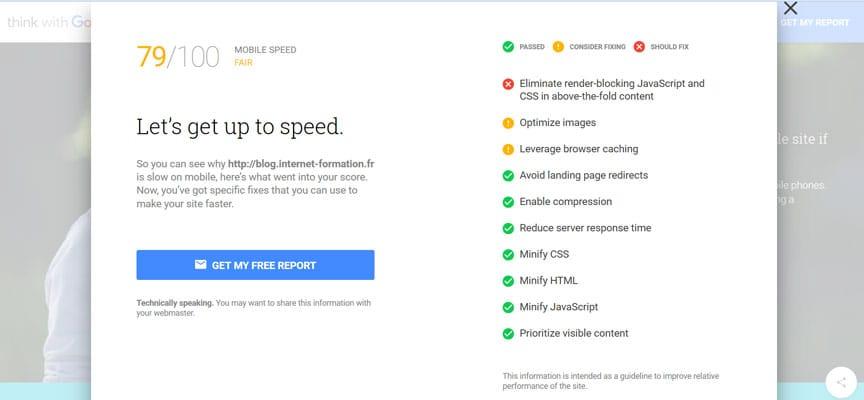 Détails d'un test avec le nouvel outil d'ergonomie mobile de Google