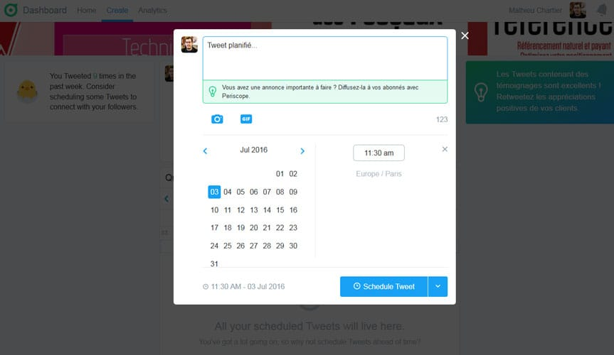 Planifier des tweets avec Twitter Dashboard