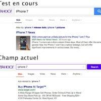 Yahoo teste un champ de recherche en flat design épuré
