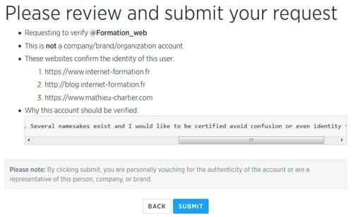Formulaire de certification de compte Twitter