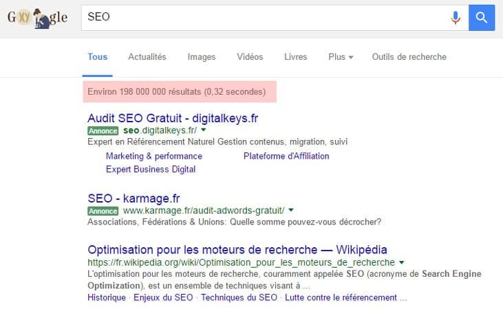 Affichage du nombre de résultats et de la vitesse de restitution dans Google