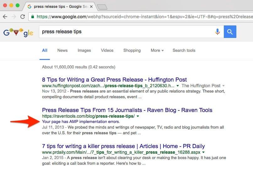 Google affiche les erreurs AMP dans les SERP