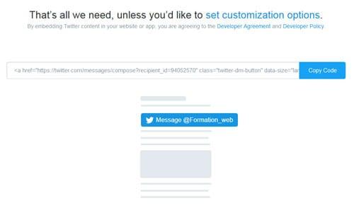 Configuration d'un bouton d'envoi de message direct pour Twitter (embed)