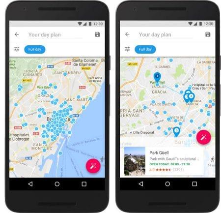Google Trips propose des suggestions de lieux à visiter