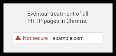 """Libellé """"Not secure"""" en rouge pour Google Chrome et les connexions HTTP non sécurisées."""