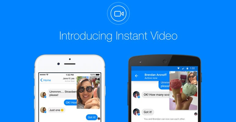 Instant video dans Facebook Messenger