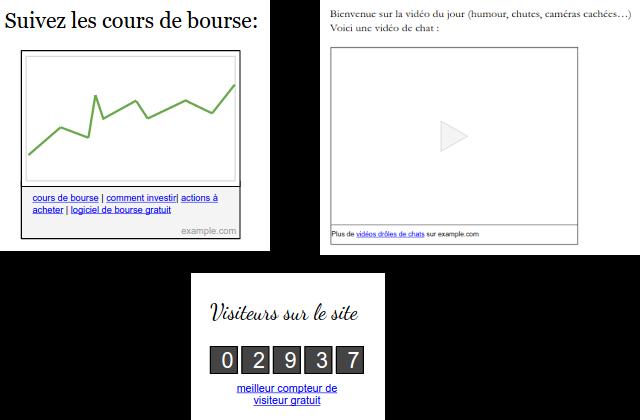 Exemples de liens artificiels et spammy placés dans des widgets de sites web