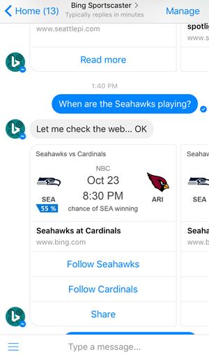 Bing et son robot SportsCaster sur Messenger mobile