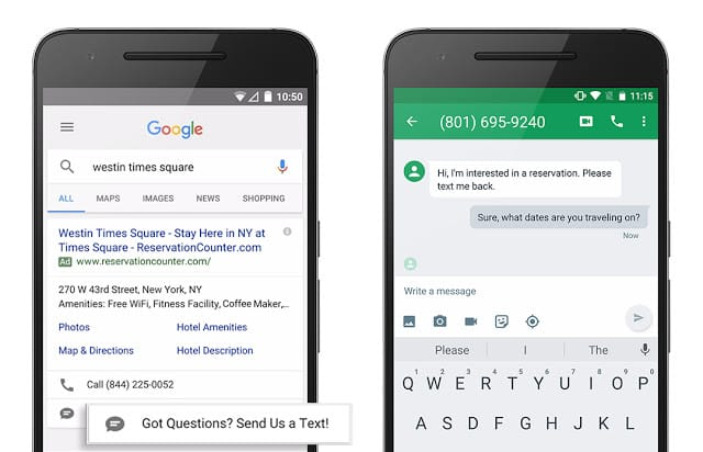 Google Adwords lance les annonces de message (SMS direct)
