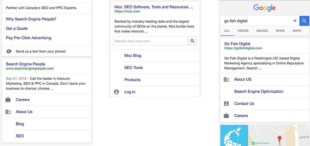 Google teste des icônes dans les sitelinks sur mobile