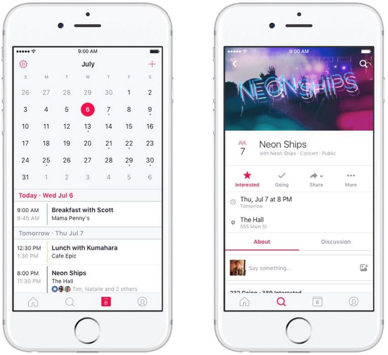 Calendrier et suivi des événements avec Events for Facebook, l'app mobile de Facebook