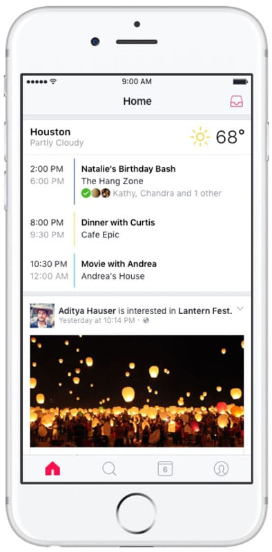 Application mobile Events for Facebook