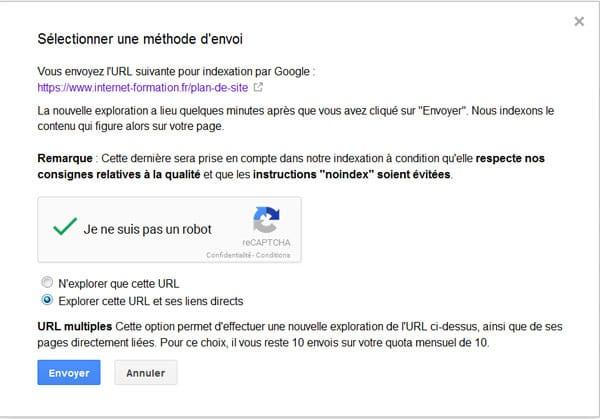 Demander une indexation dans Explorer comme Google (Search Console)