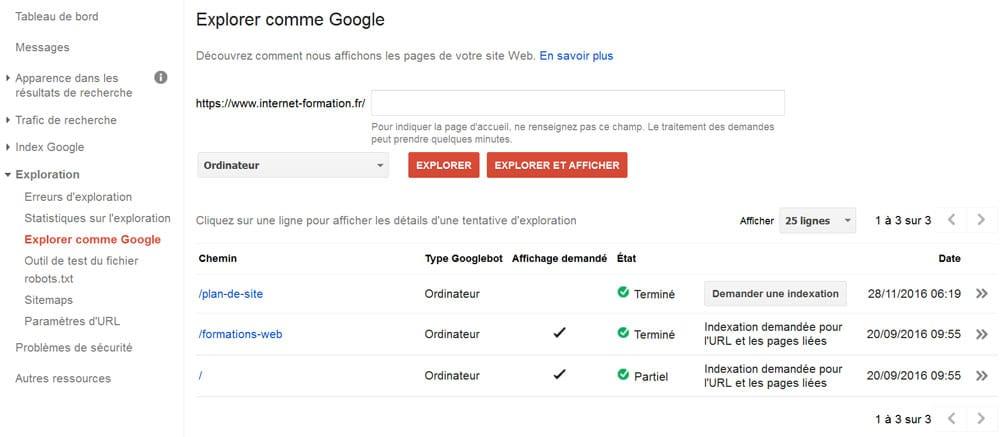 Demander une indexation dans la Google Search Console