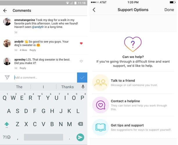 Instagram propose de signaler anonymement un membre pour lui apporter de l'aide