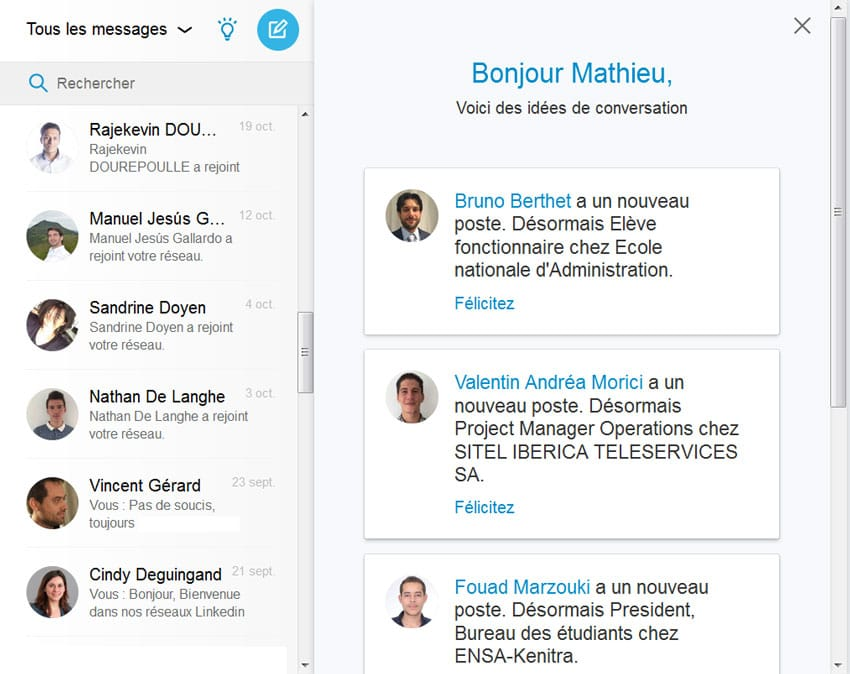 Linkedin aide à commencer des conversations et des messages sur ordinateur
