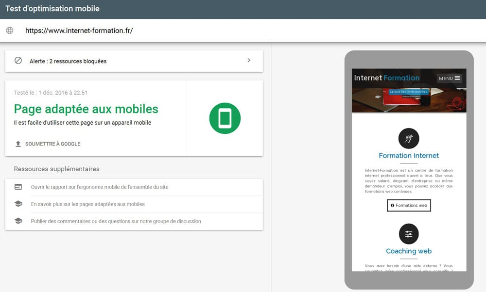 Outil de test mobile de Google
