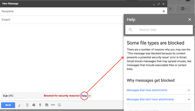 Gmail va bloquer les fichiers Javascript (.js) dans les pièces jointes
