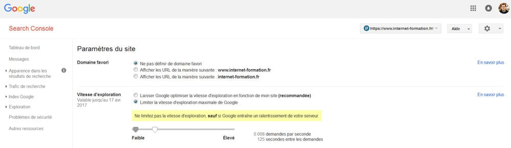 Crawl budget GoogleBot : limitez la vitesse d'exploration dans la Google Search Console