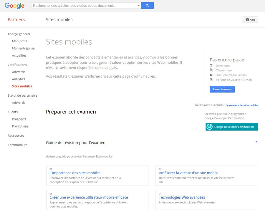 Google créé la certification Sites mobiles