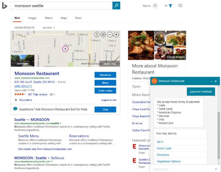 ChatBot pour les restaurants (Mansoon) sur Bing aux Etats-Unis